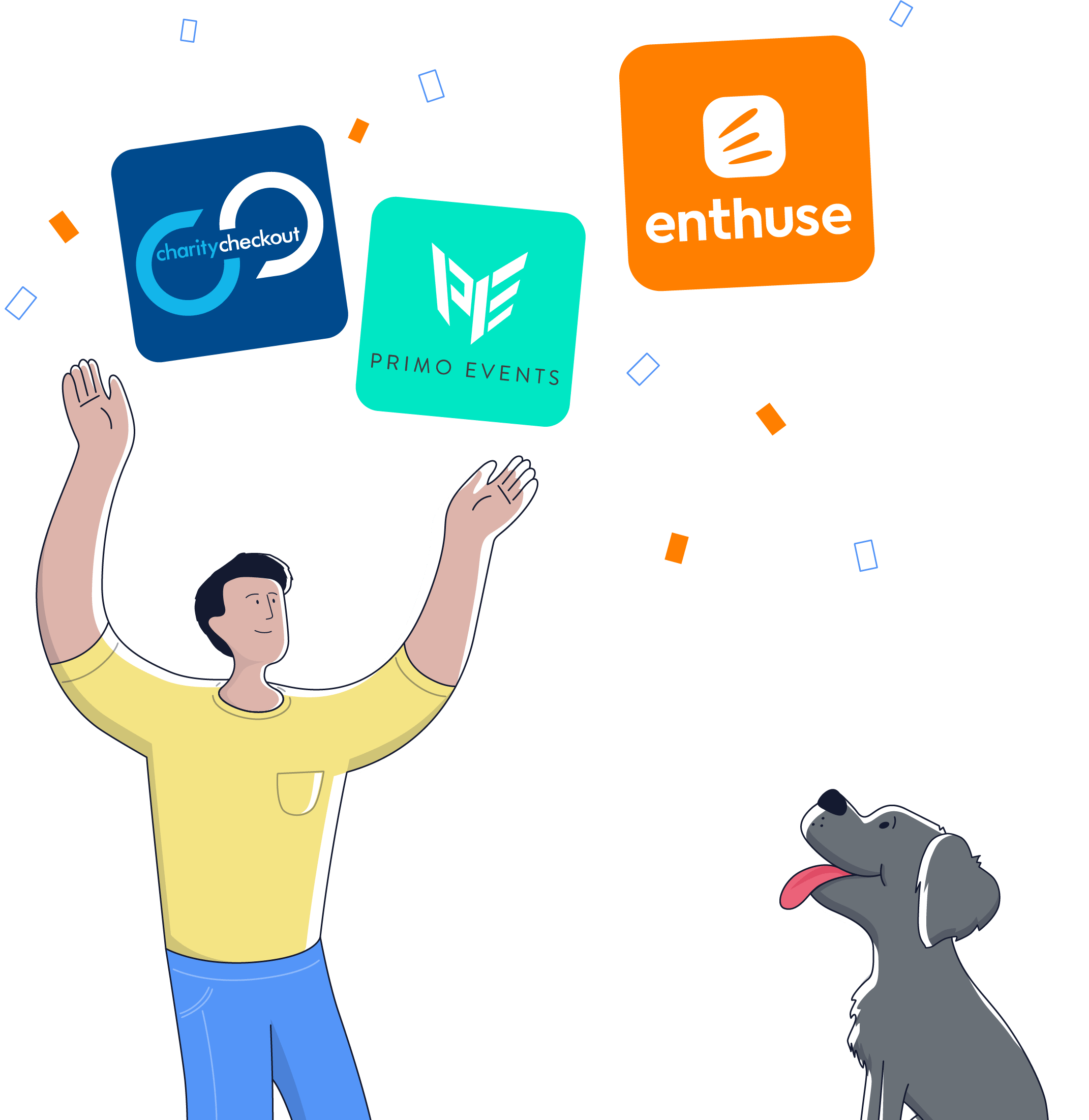 Graphic showing that Enthuse was born from the fusion of CharityCheckout and Primo Events