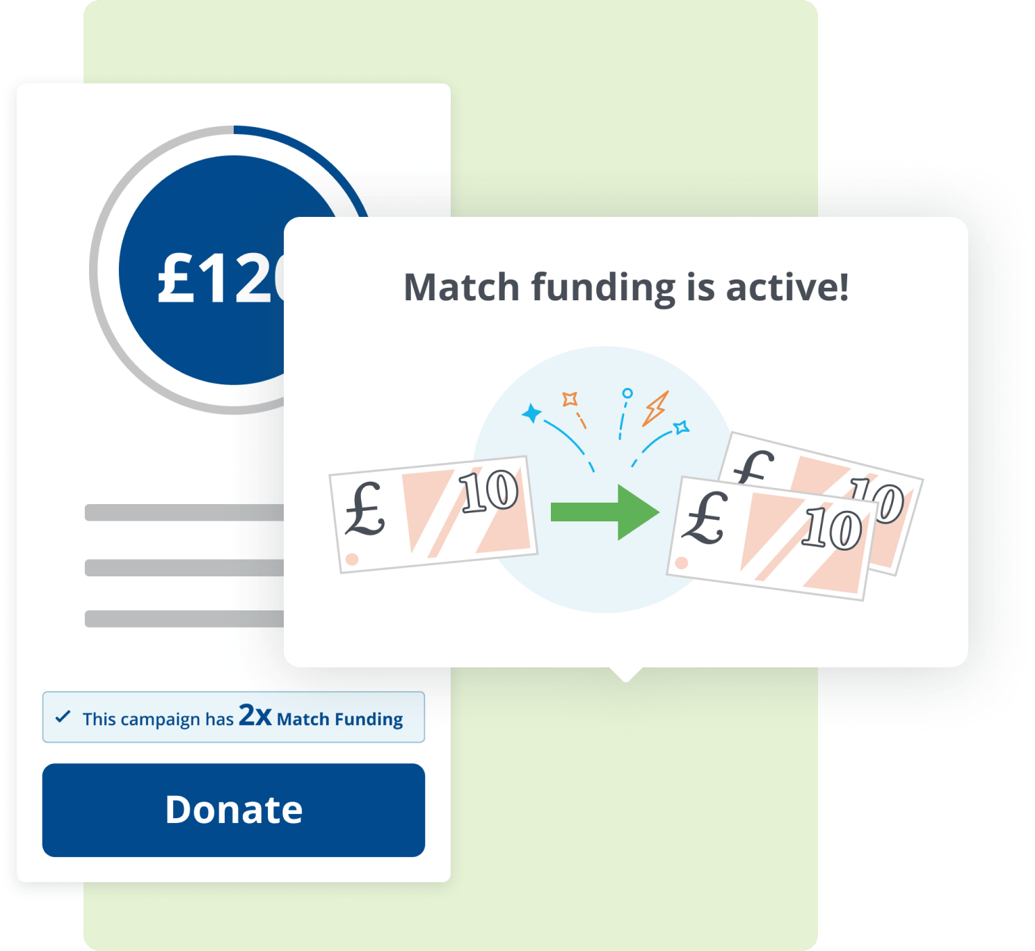 Screenshot of Enthuse match funding functionality