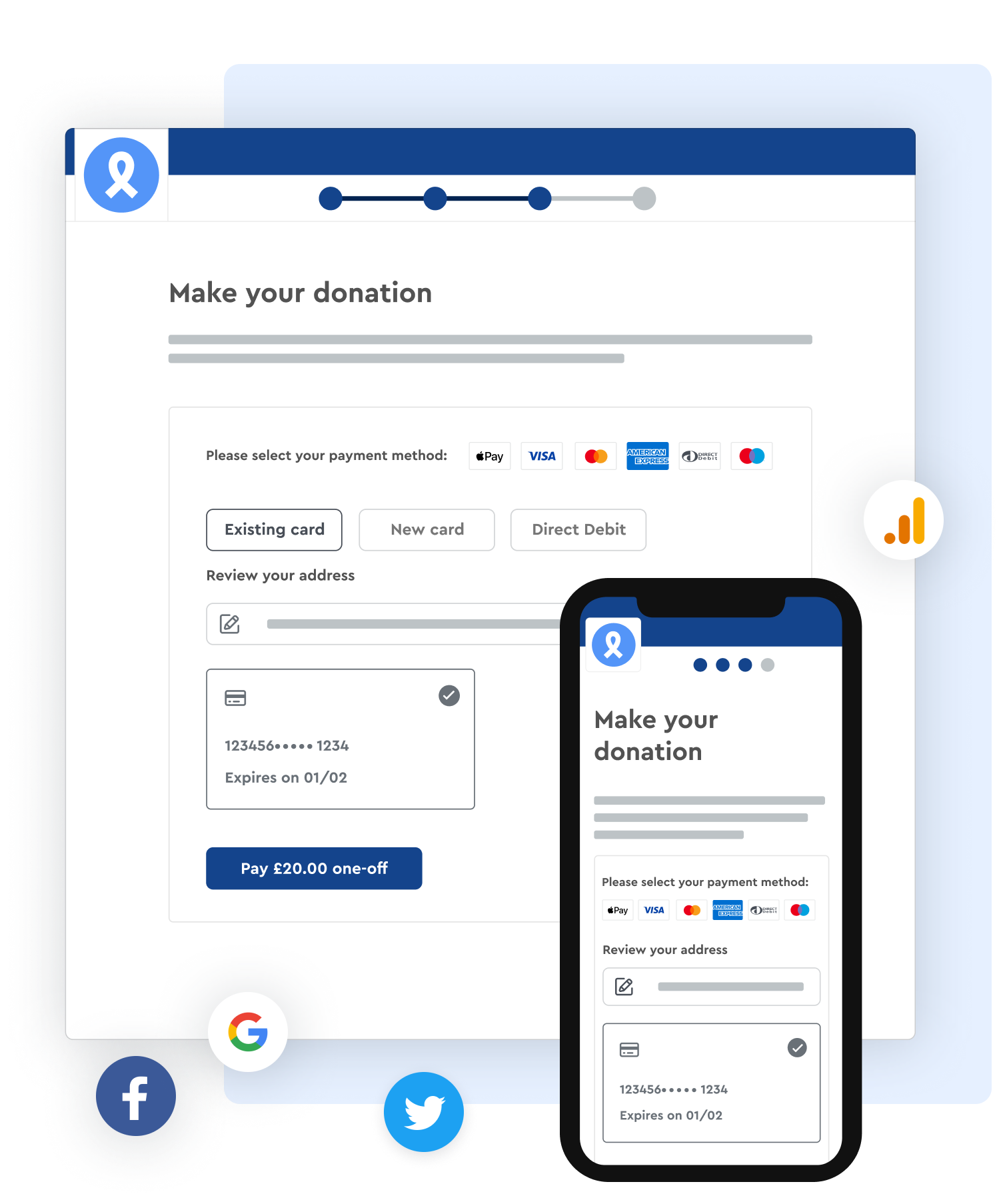 Screenshot of Enthuse automated Gift Aid form