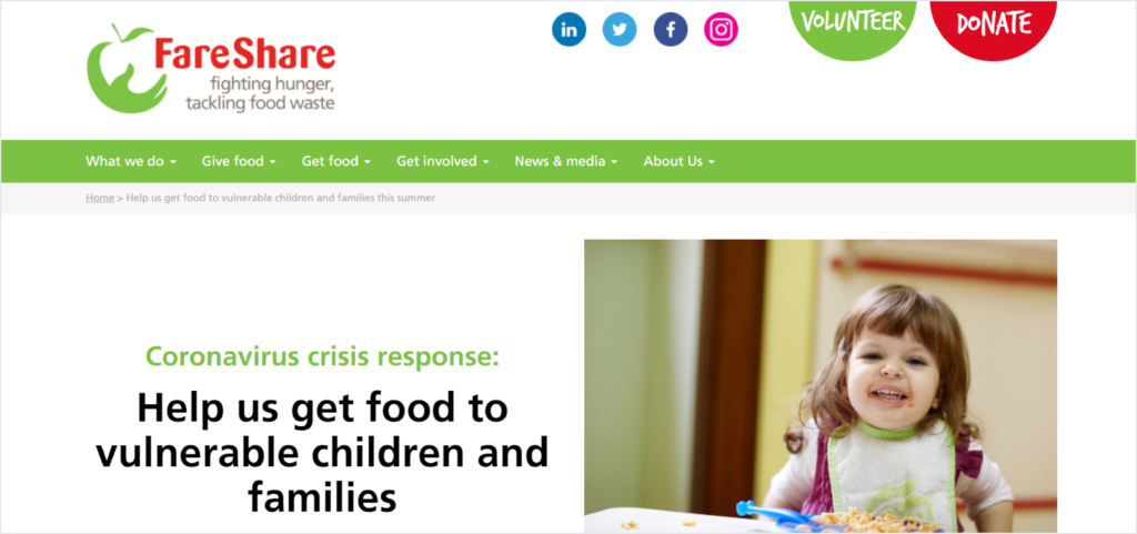 Donate button on FareShare's website